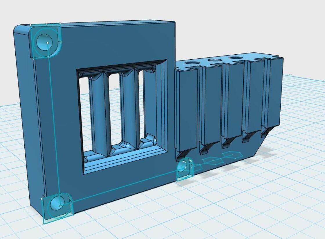3D ontwerk van een adapter mount voor de Hemera
