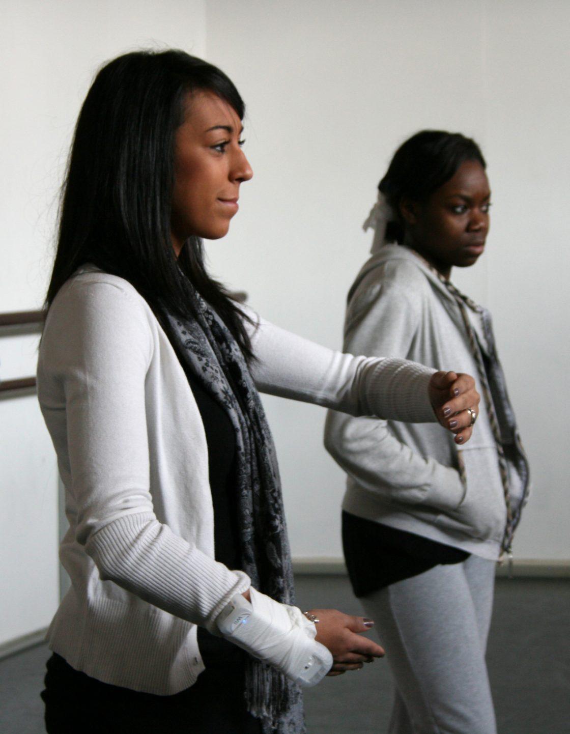 Twee danseressen met een Wii controller om de arm