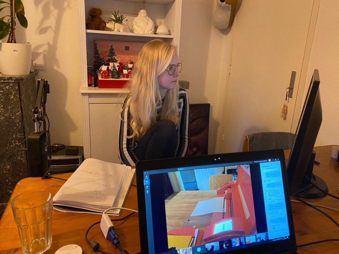 Ilse geeft de virtuele workshop van achter haar bureau