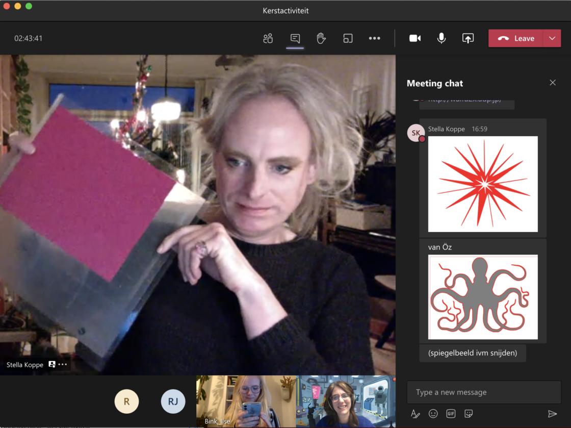 Stellata laat via videobellen een stap van de workshop zien aan de deelnemers